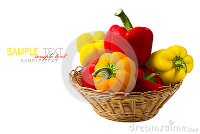 Fresh peppers in basket