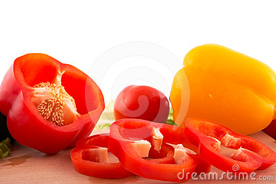 Fresh peppers cuts on white background