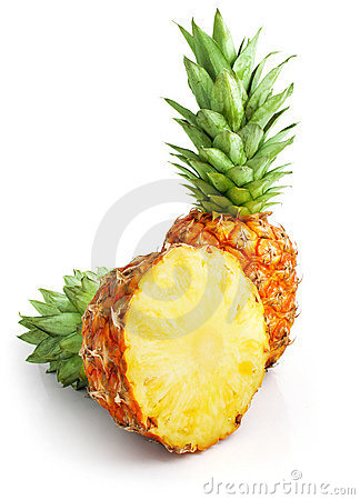 Free Fresh Pineapple Fruit With Cut And Green Leaves Stock Photography - 8993372