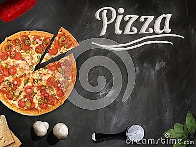 Fresh pizza with mushrooms salami pepper on dark beackground