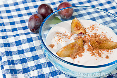 Fresh plum yogurt with cinnamon