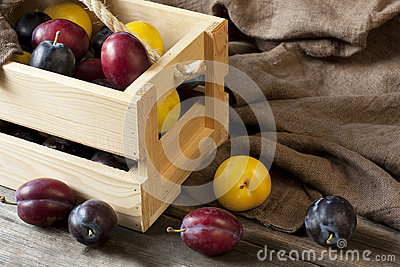 Fresh plums in box on wooden board