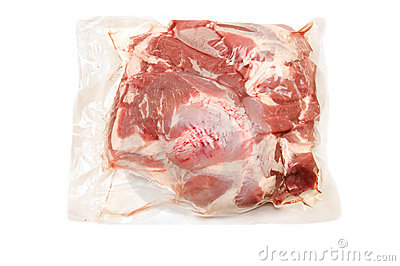 Fresh pork meat in vacuum packed  scapula