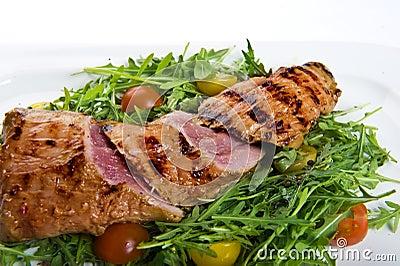 Fresh pork steak with salad