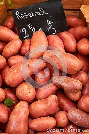 Fresh potatoes on market