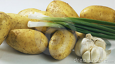 Fresh potatoes with onion and garlic
