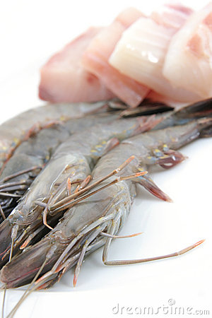 Fresh prawns and fish meat
