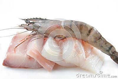 Fresh prawns and fish meat