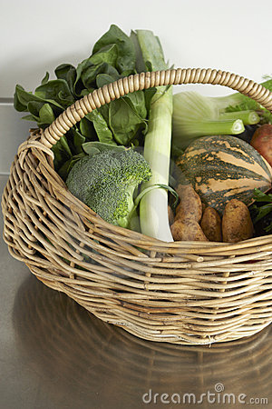Fresh produce, seasonal vegetables in basket