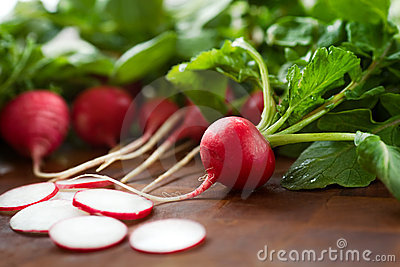 Fresh radishes with greet tops