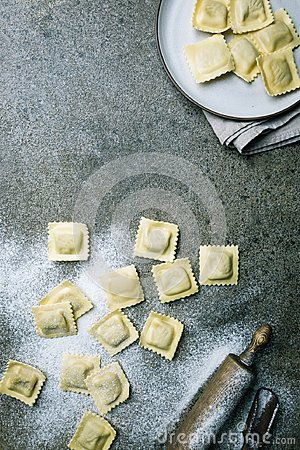 Free Fresh Ravioli With Flour Stock Photos - 118760723