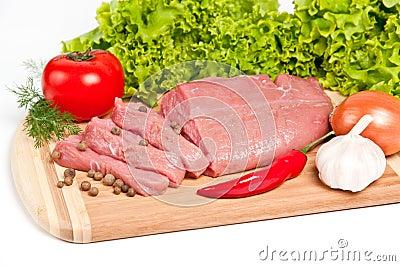Fresh raw beef on board