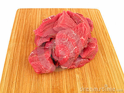 Fresh raw beef on cutting board