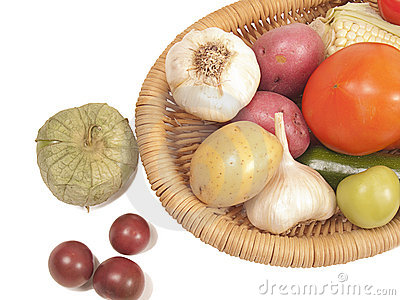 Fresh raw vegetables in basket
