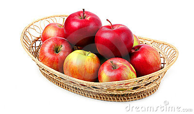 Fresh red apples in basket.