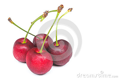Fresh red cherry on white background
