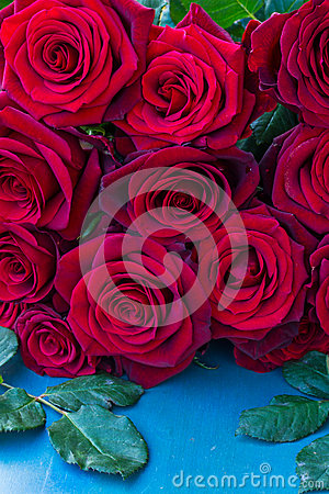 Free Fresh Red  Roses On Blue Table Stock Photography - 37022532