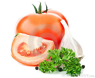 Fresh Red Tomato And Garlic Stock Image - Image: 23574081