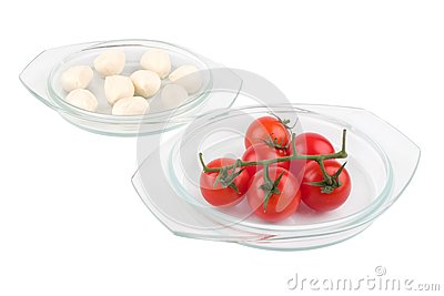 Fresh red tomatoes and mozzarella