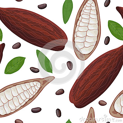 Free Fresh Ripe Cocoa Fruit Seamless Pattern Vector. Cacao Pod Leaves And Beans. Chocolate Color Royalty Free Stock Photography - 92066037