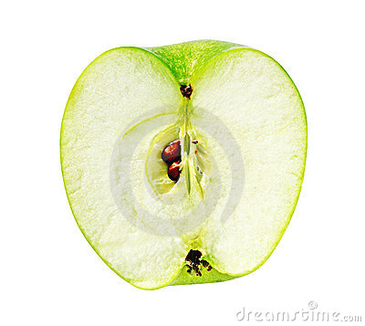 Fresh ripe juicy apple cut isolated on white