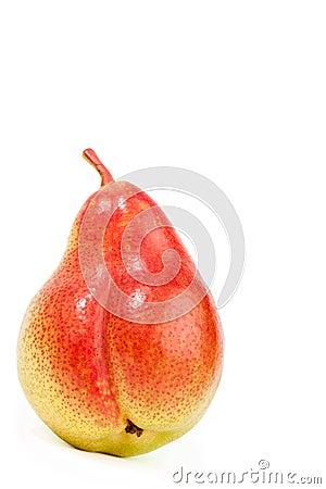 Fresh ripe pear on white