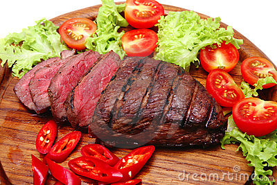 Fresh roast beef steak