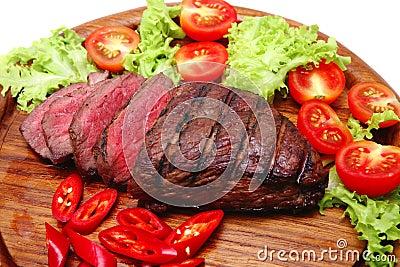 Fresh roast beef steak