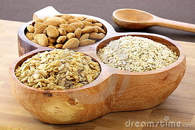 Fresh rolled oats almonds and muesli