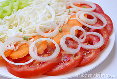 Fresh salad with carrot and onion