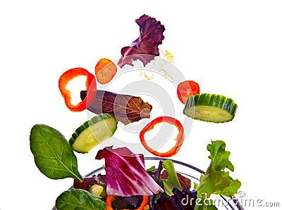 Fresh salad flying