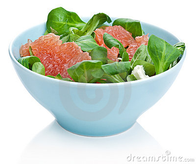 Fresh salad with grapefruit isolated