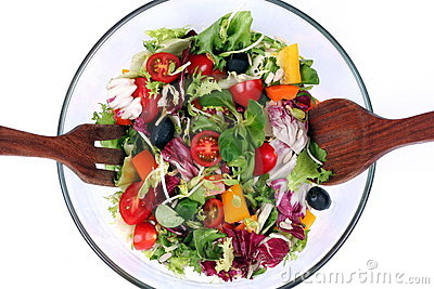 Fresh salad mix in bowl