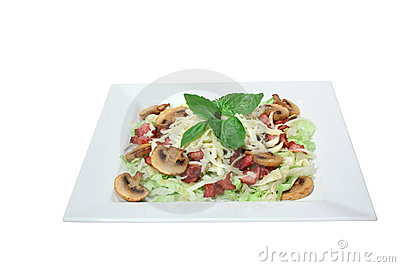 Fresh salad with mushrooms, cheese and fried bacon