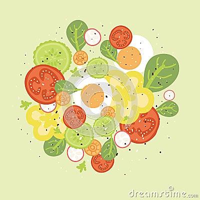Fresh salad vector illustration
