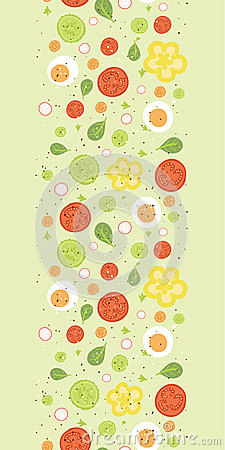 Fresh salad vertical seamless pattern background