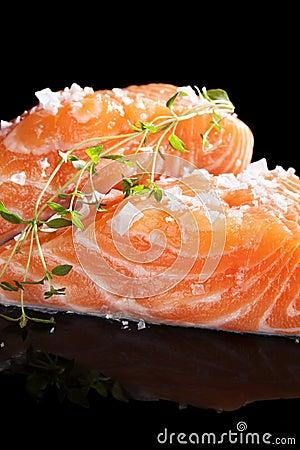 Fresh salmon close up.