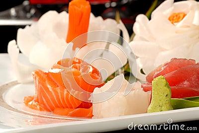 Fresh salmon and tuna sashimi