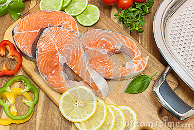 Fresh salmon, vegetables and herbs