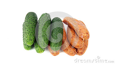 Fresh sausage and cucumber