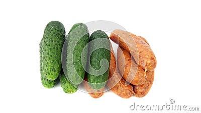 Fresh sausage and cucumber
