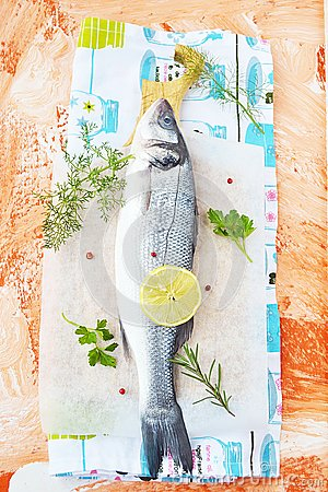Fresh sea bass with herbs