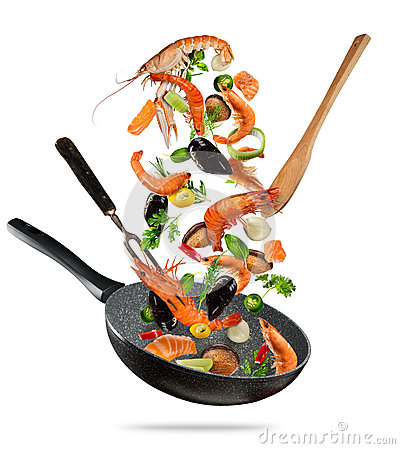 Free Fresh Sea Food And Vegetables Flying Into A Pan On White Backgro Stock Image - 94374351