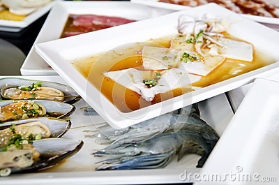 Fresh seafood Grill Koren style