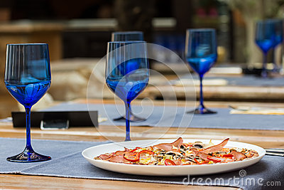 Fresh Served Pizza On Restaurant Table