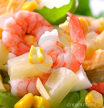 Free Fresh Shrimp Salad. Royalty Free Stock Image - 46208946