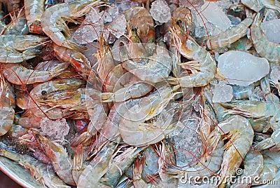 Fresh shrimps on ice tray in market