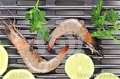 Fresh shrimps with lemon and parsley.