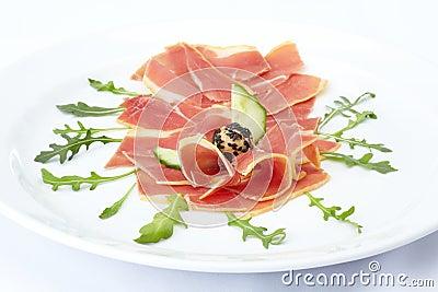 Fresh sliced prosciutto