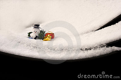 Fresh snow and a snowman